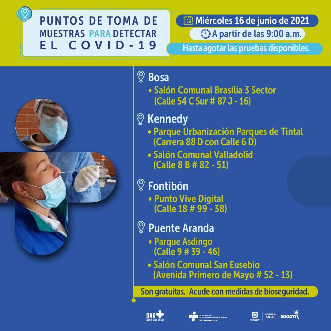 Puntos prueba COVID 16 de junio