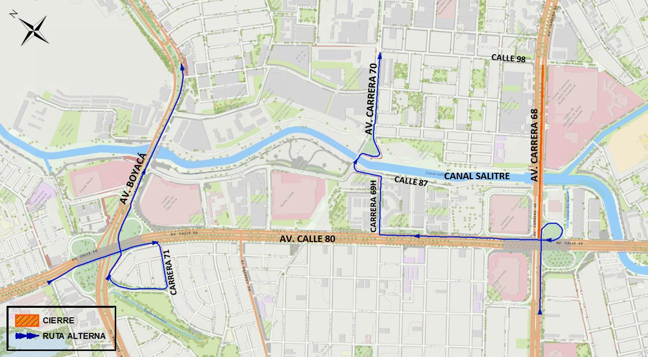 Mapa 3 vías alternas para ciclistas y peatones