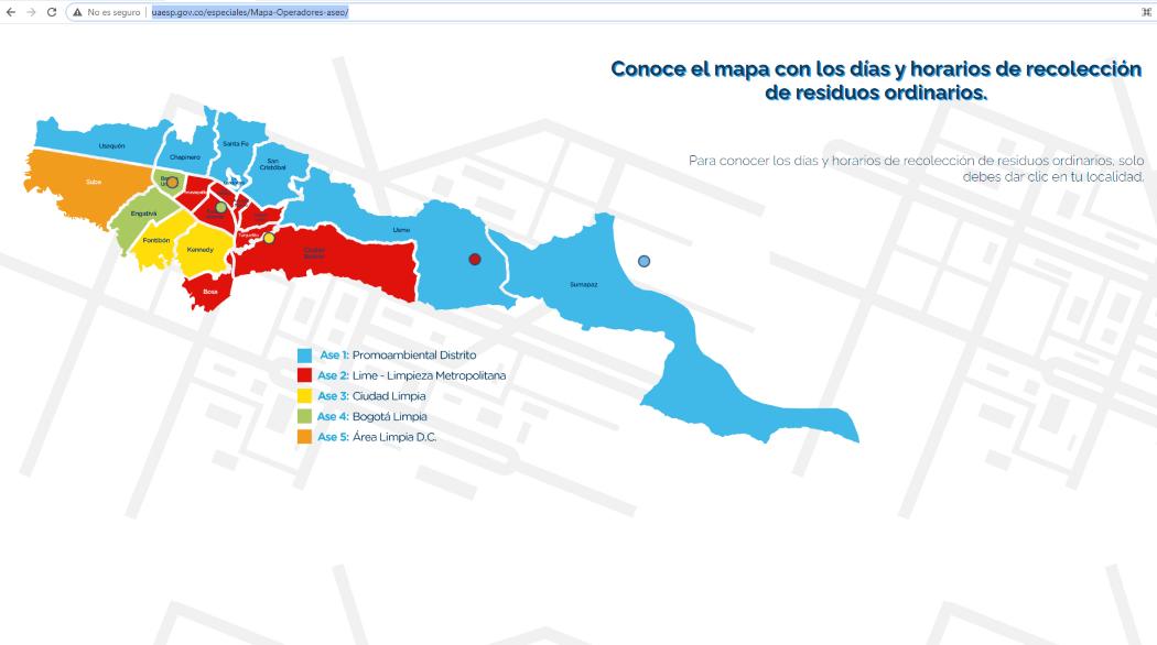 Pantallazo del mapa de operadores de aseo de Bogotá