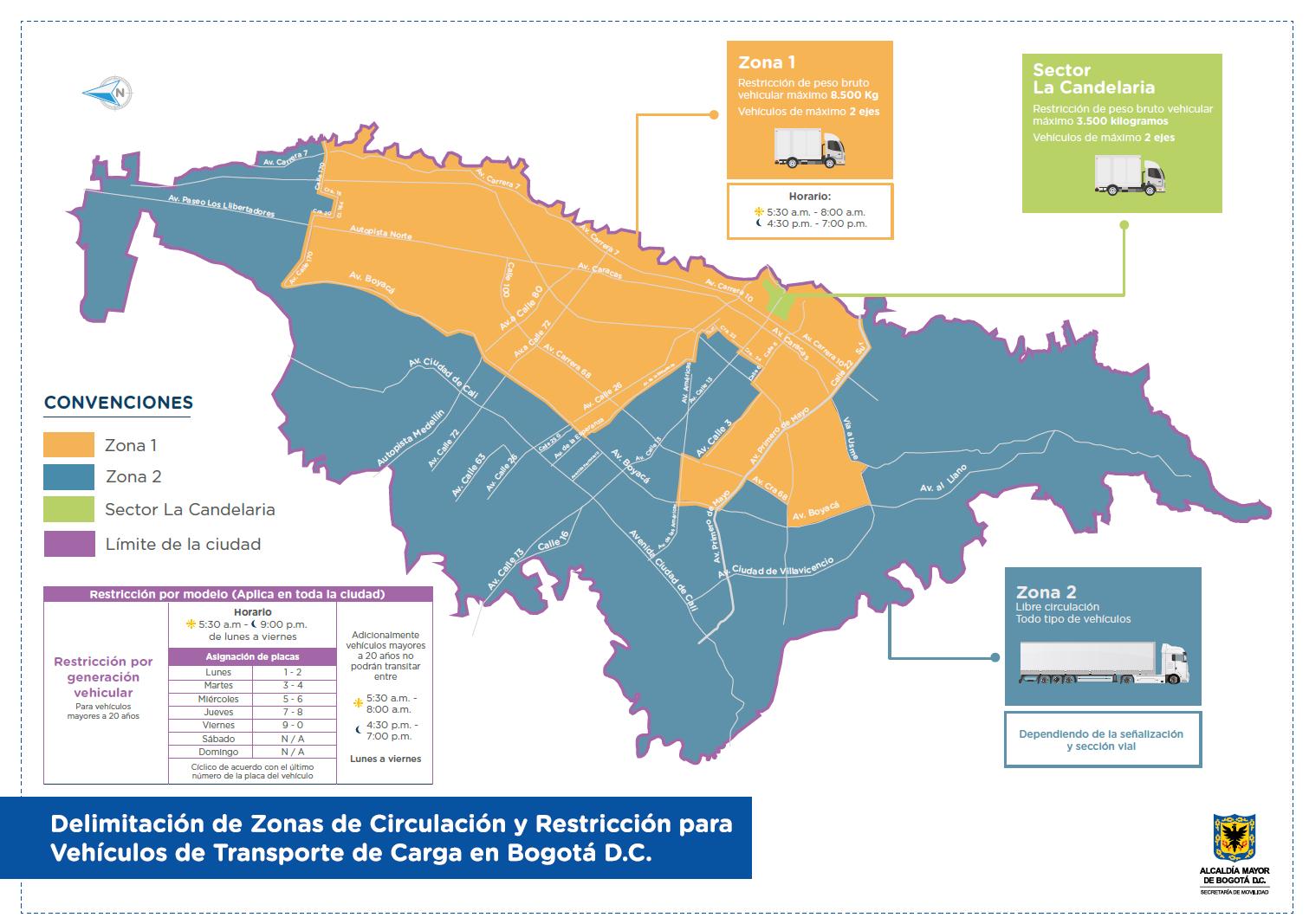 Mapa de las zonas de restricción de carga en Bogotá