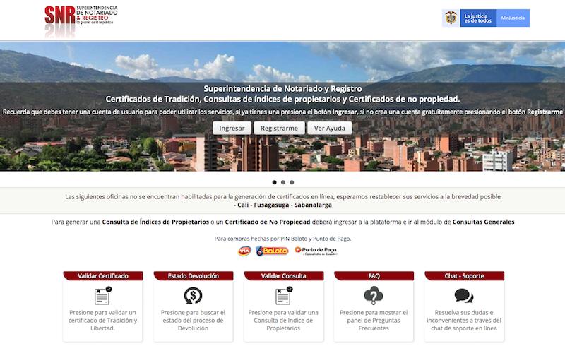 Portal de pagos - Superintendencia de Notariado y Registro