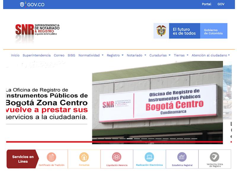Portal Superintendencia de Notariado y Registro
