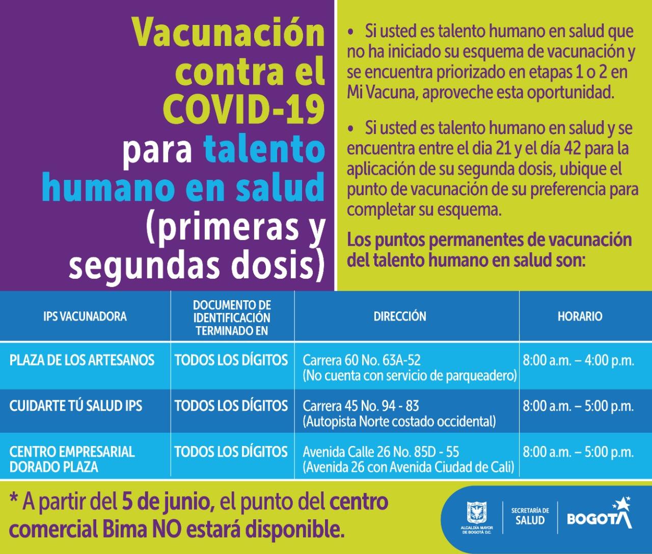 Puntos de vacunación para personal de salud.