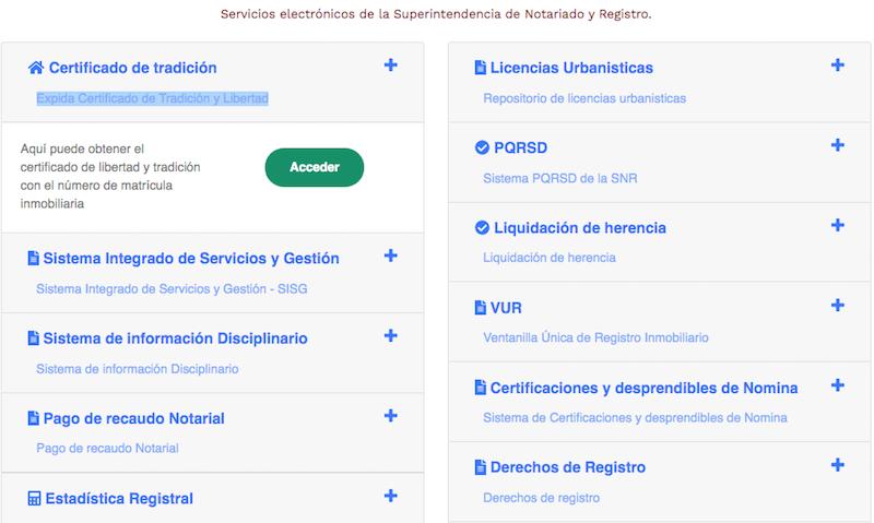 Servicios en línea - Superintendencia de Notariado y Registro