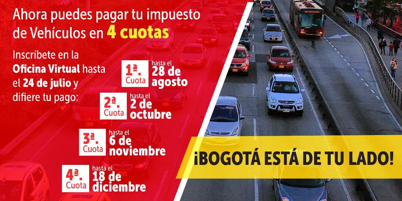 Plazo pago de impuestos vehículos en Bogotá