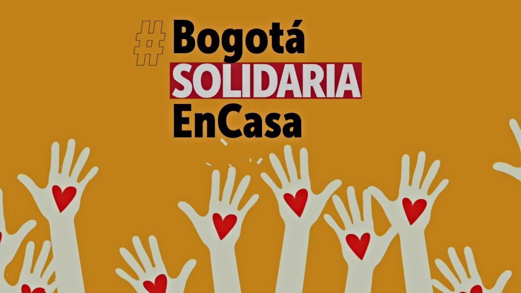 Imagen con la frase en Bogotá nos cuidamos entre todos #BogotaSolidariaEnCasa