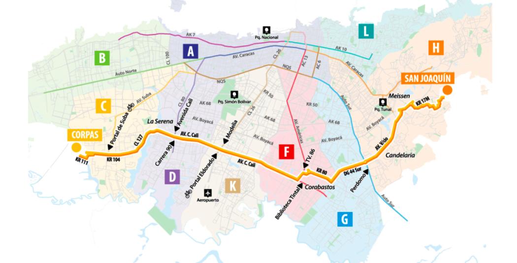 Mapa de rutas HC612 Y BK905. Fuente: TransMilenio