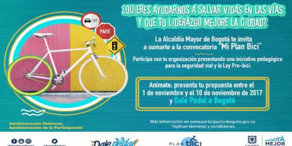 Mi plan bici:Hasta el 10 de noviembre puede presentar sus propuestas