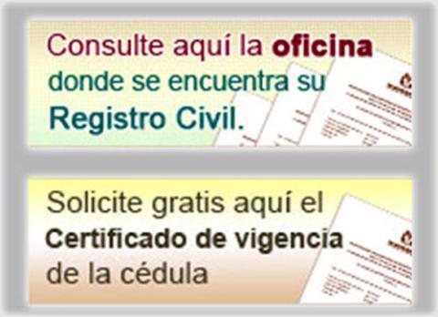 Certificado de vigencia de la c dula y consulta de la for Oficina registro civil