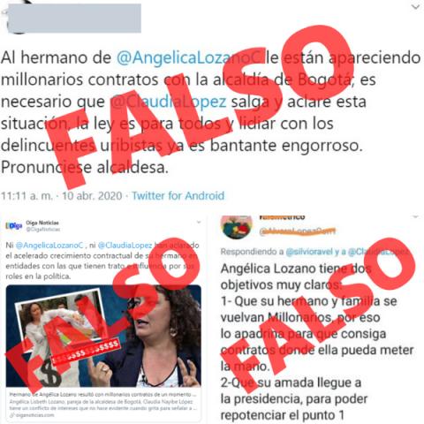 Falso que el hermano de Angélica Lozano tenga contratos con la Alcaldía de Bogotá