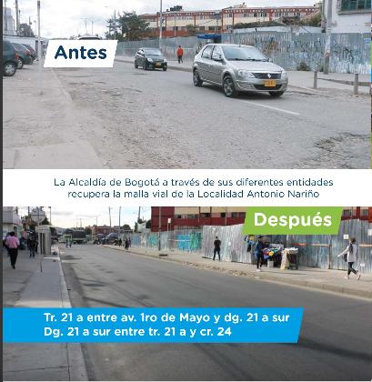 Imagen del mejoramiento de una vía en Antonio Nariño