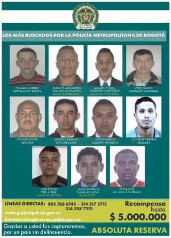 Delincuentes más buscados - FOTO: Prensa Mebog