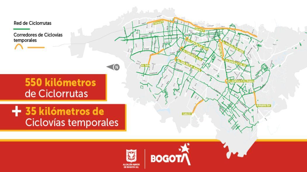 Mapa de ciclovías temporales en Bogotá. Incluye red de ciclorrutas