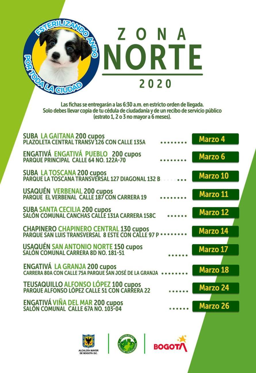 Imagen con fechas de la zona norte