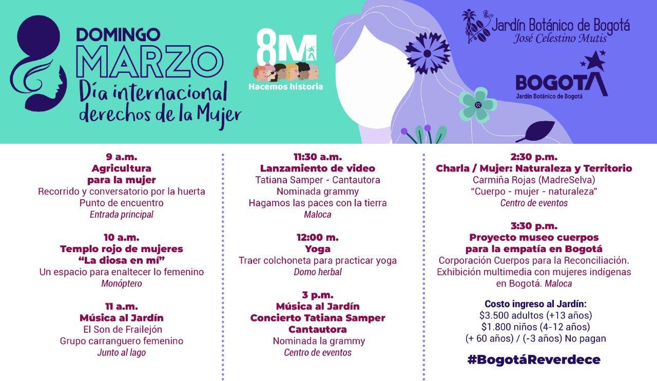 Actividades del día de la mujer 2020 en el jardin botanico de bogota