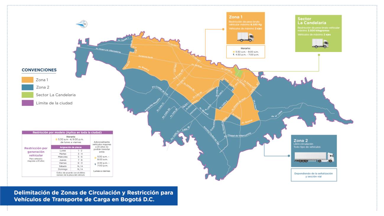 Mapa de restricciones del decreto distrital 840 de 2019