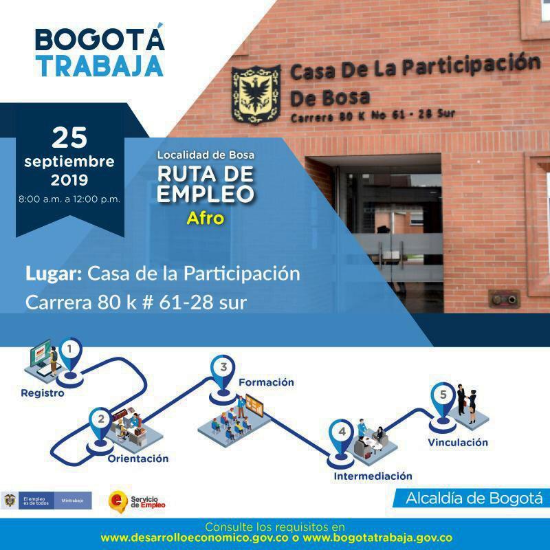 Invitación a ruta del empleo para grupos poblacionales étnicos en Bosa - Imagen: Secretaría de Desarrollo Económico.