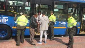 Autoridades realizan operativos en el SITP- FOTO: Prensa Policía Metropolitana de Bogotá
