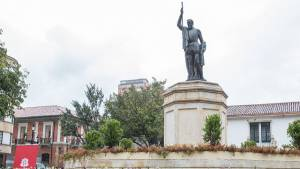 Monumento de Gonzalo Jiménez de Quesada recuperado - Foto: Alcaldía de Bogotá / Diego Bauman