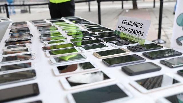 Celulares recuperados: FOTO: Prensa Mebog