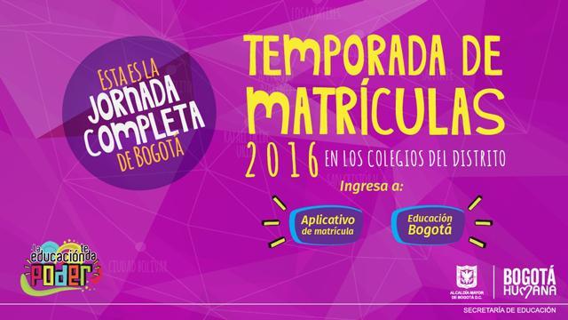Abiertas matrículas para el 2016 en los colegios públicos de Bogotá