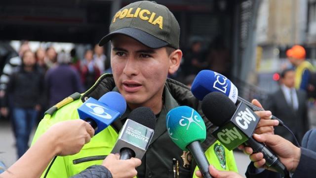 Patrullero herido en Transmilenio - FOTO: Oficinade Prensa MEBOG
