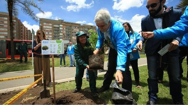 Alcalde Peñalosa planta árboles en Bogotá