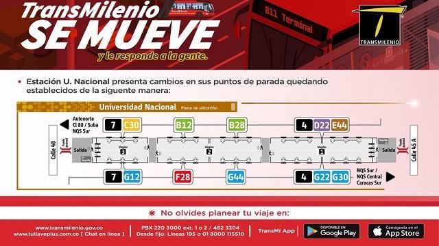 Con cambios de parada, TransMilenio agiliza la estación U. Nacional