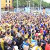 Muchos hinchas se congregaron en las pantallas para ver el partido